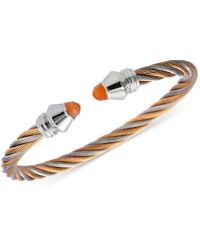 Charriol - Women's Fabulous Orange Moonstone Two-tone Pvd Stainless Steel Cable Bangle Bracelet - Lyst