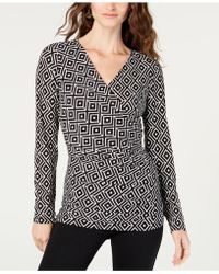 INC International Concepts - I.n.c. Petite Ruched Faux-wrap Top, Created For Macy's - Lyst