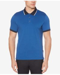 Perry Ellis - Colorblocked Cotton Polo - Lyst