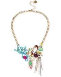 "Betsey Johnson - Tri-tone Stone & Crystal Critter Statement Necklace, 16"" + 3"" Extender - Lyst"