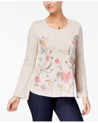 Style & Co. - Embroidered Bell-sleeve Sweater - Lyst