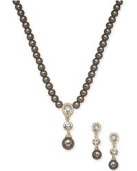 """Charter Club - Gold-tone Crystal & Imitation Pearl Lariat Necklace & Drop Earrings Set, 17"""" + 2"""" Extender, Created For Macy's - Lyst"""