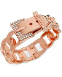 Guess | Rose Gold-tone Crystal Buckle Hinge Bangle Bracelet | Lyst