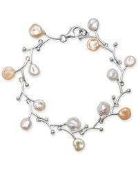 Macy's - White & Pink Keshi Freshwater Pearl (7mm) Bracelet In Sterling Silver - Lyst