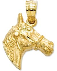 Macy's - 14k Gold Charm, Diamond-cut Horse Head Charm - Lyst