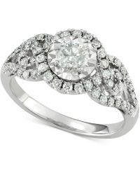 Macy's - Diamond Weave-style Engagement Ring (1-1/7 Ct. T.w.) In 14k White Gold - Lyst
