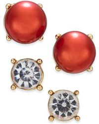 Charter Club - Gold-tone Colored Imitation Pearl 2-pc. Set Stud Earrings, Created For Macy's - Lyst