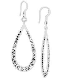 edd599c09 Lois Hill - Decorative Scroll Open Teardrop Drop Earrings In Sterling Silver  - Lyst
