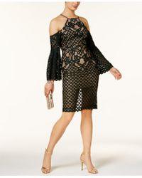 Bardot - Mila Cold-shoulder Mixed-lace Illusion Dress - Lyst