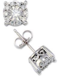 Macy's - Diamond Halo Stud Earrings (1/2 Ct. T.w.) In 14k White Or Yellow Gold - Lyst