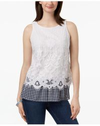 Charter Club - Petite Lace Gingham-hem Top, Created For Macy's - Lyst