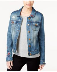 Vintage America - Frayed Embroidered Denim Jacket - Lyst