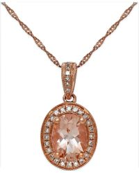 Macy's - Morganite (1-1/5 Ct. T.w.) And Diamond (1/6 Ct. T.w.) Pendant Necklace In 14k Rose Gold - Lyst