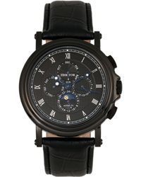 Heritor - Automatic Kingsley Black Leather Watches 46mm - Lyst