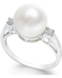 Macy's - Cultured Freshwater Pearl (10mm) And Diamond Ring (1/10 Ct. T.w.) In 14k White Gold - Lyst