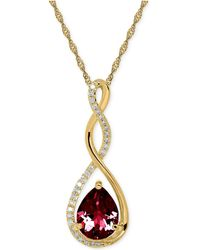Macy's | Birthstone And Diamond (1/10 Ct. T.w.) Pendant Necklace In 14k White Or Yellow Gold | Lyst