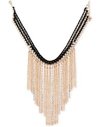 "Guess - Gold-tone Crystal & Fringe Fabric-weaved Statement Necklace, 16"" + 2"" Extender - Lyst"