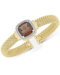Macy's - Smoky Quartz (10 Ct. T.w.) & White Topaz (1/3 Ct. T.w.) Mesh Bracelet In 14k Gold-plated Sterling Silver - Lyst