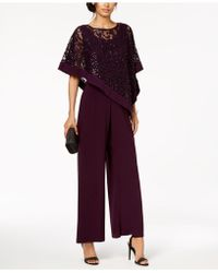 a72786c0ec11 R   M Richards Petite Sleeveless Sequin-contrast Jumpsuit - Lyst