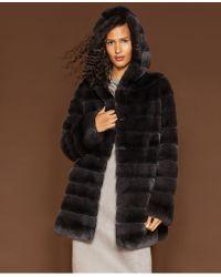 d2f8b42fc81 Lyst - The Fur Vault Fox-fur-trimmed   Rabbit-fur-lined Leather Coat ...