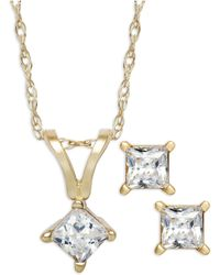 Macy's | Princess-cut Diamond Pendant Necklace And Earrings Set In 10k Gold (1/4 Ct. T.w.) | Lyst