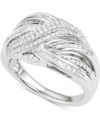 Macy's | Diamond Crisscross Ring (1/2 Ct. T.w.) In Sterling Silver | Lyst