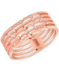 Guess - Rose Gold-tone Crystal Hinged Cuff Bracelet - Lyst
