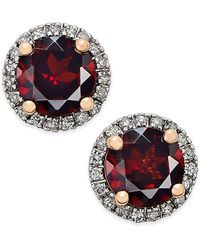 Macy's - Garnet (1-3/4 Ct. T.w.) And Diamond (1/6 Ct. T.w.) Stud Earrings In 14k Rose Gold - Lyst