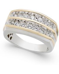 Macy's - Men's Diamond Two-tone Two-row Ring (1 Ct. T.w.) In 10k White Gold And Yellow Gold - Lyst