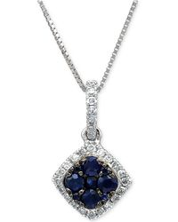 Macy's - Sapphire (1/4 Ct. T.w.) & Diamond (1/10 Ct. T.w.) Pendant Necklace In 14k White Gold - Lyst