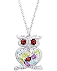 "Macy's - Multi-gemstone Openwork Owl 18"" Pendant Necklace (2-1/8 Ct. T.w.) In Sterling Silver - Lyst"