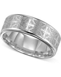 Triton - Men's Tungsten Carbide Ring, Comfort Fit Etched Cross Wedding Band - Lyst