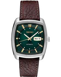 Seiko - Men's Automatic Recraft Brown Leather Strap Watch 40mm - Lyst