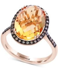 Effy Collection - Citrine (6-7/8 Ct. T.w.) & Diamond (1/4 Ct. T.w.) Ring In 14k Rose Gold - Lyst