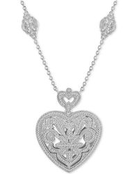 "Macy's - Diamond (1/3 Ct. T.w.) Heart 18"" Pendant Necklace In Sterling Silver - Lyst"