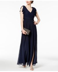 Adrianna Papell - Pleated Illusion-sleeve Gown - Lyst