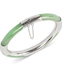 Macy's - Dyed Green Jade (7mm) Bangle Bracelet In Sterling Silver - Lyst