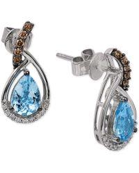 Le Vian - Chocolatier® Sea Blue Aquamarine® (1 Ct. T.w.) And Diamond (1/6 Ct. T.w.) Drop Earrings In 14k White Gold - Lyst