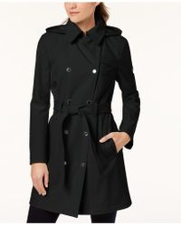 CALVIN KLEIN 205W39NYC - Petite Belted Softshell Trench Coat - Lyst