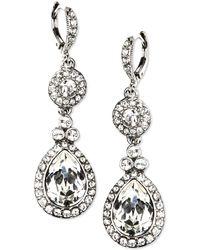 Givenchy - Earrings, Silver-tone Swarovski Element Double Drop Earrings - Lyst