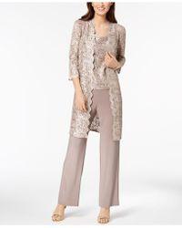 R & M Richards - 3-pc. Sequined Lace Pantsuit & Jacket - Lyst