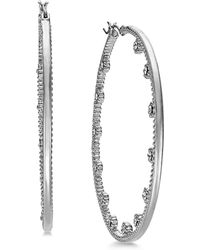 "INC International Concepts - I.n.c. Extra Large 2.4"" Silver-tone Crystal Flower Hoop Earrings, Created For Macy's - Lyst"