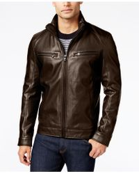 Michael Kors - Perforated Faux-leather Moto Jacket, Created For Macy's - Lyst