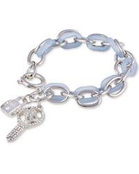 Guess - Silver-tone Crystal Padlock & Key Charm Woven Link Bracelet - Lyst