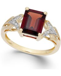Macy's - Garnet (2-1/2 Ct. T.w.) And Diamond Accent Ring In 14k Gold - Lyst