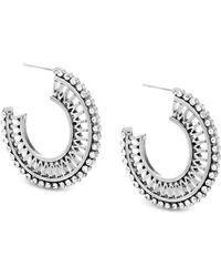 Steve Madden - Silver-tone Crystal Openwork Hoop Earrings - Lyst