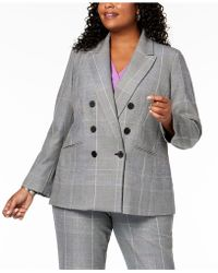 Nine West - Plus Size Plaid Double-breasted Jacket - Lyst