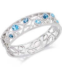 Macy's - Multi-topaz (7 Ct. T.w.) Filigree Bangle Bracelet In Sterling Silver - Lyst