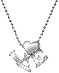 "Alex Woo - ""love"" Heart Pendant Necklace In Sterling Silver - Lyst"