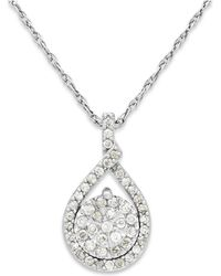 Macy's | Diamond Cluster Pendant Necklace In Sterling Silver (1/5 Ct. T.w.) | Lyst